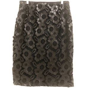 BISOU BISOU Skirt with Faux Leather Lace Overlay